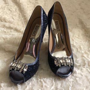 Badgley Mischka Blue Sequin Heels